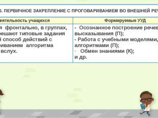 Этап 6. ПЕРВИЧНОЕ ЗАКРЕПЛЕНИЕ С ПРОГОВАРИВАНИЕМ ВО ВНЕШНЕЙ РЕЧИ. Деятельность