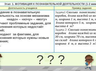 ? ? ? Этап 1. МОТИВАЦИЯ К ПОЗНАВАТЕЛЬНОЙДЕЯТЕЛЬНОСТИ (1-2 мин) Деятельность у