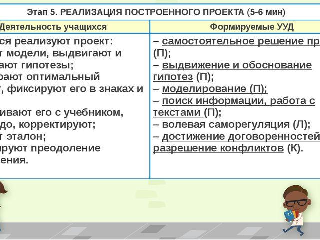 Этап 5. РЕАЛИЗАЦИЯ ПОСТРОЕННОГО ПРОЕКТА(5-6 мин) Деятельность учащихся Формир...