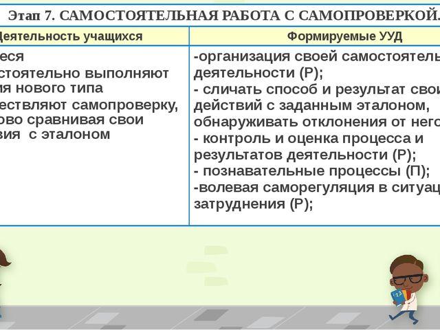 Этап 7. САМОСТОЯТЕЛЬНАЯ РАБОТА С САМОПРОВЕРКОЙ. Деятельность учащихся Формиру...