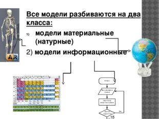информационные модели Такие модели описывают объект моделирования различными