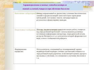 Характеристика основных методов контроля знаний и умений учащихся при обучен