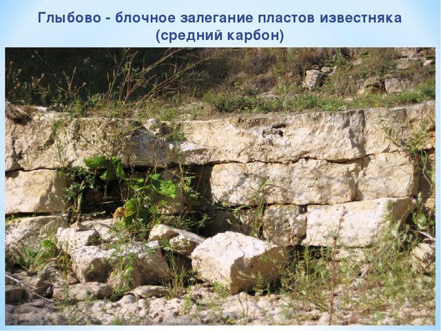 Глыбово - блочное залегание пластов известняка (средний карбон)