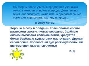 На втором этапе учитель предлагает ученикам текст, в котором описана природа.