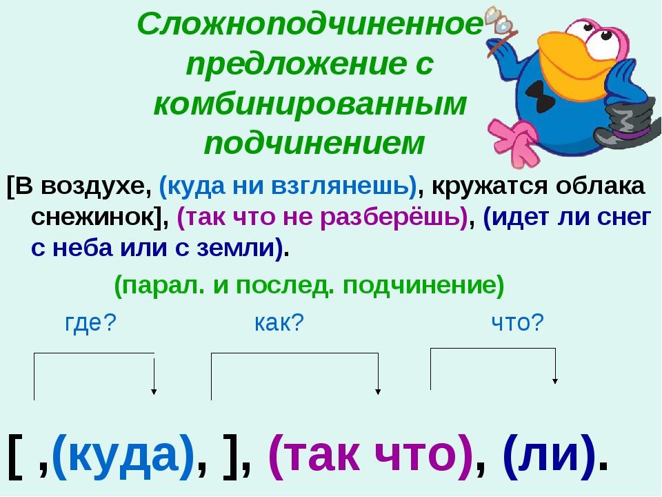 Сложноподчиненное предложение с комбинированным подчинением [В воздухе, (куд...