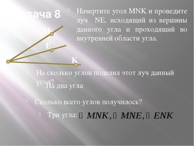Задача 8 Начертите угол MNK и проведите луч NE, исходящий из вершины данного...