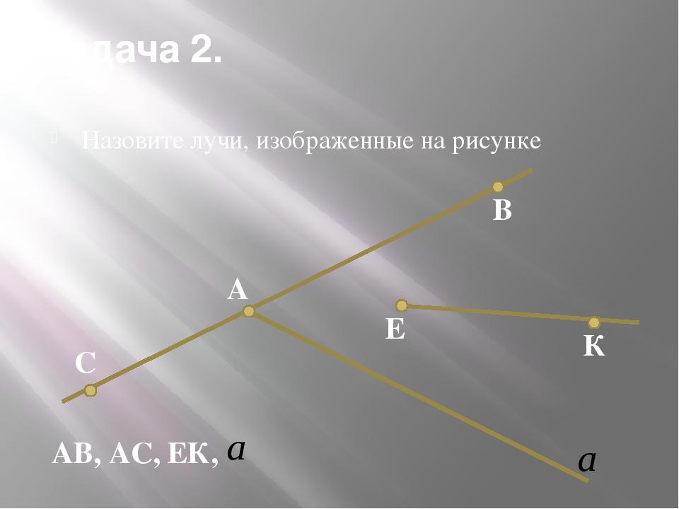 Задача 2. Назовите лучи, изображенные на рисунке К Е В А С АВ, АС, ЕК,