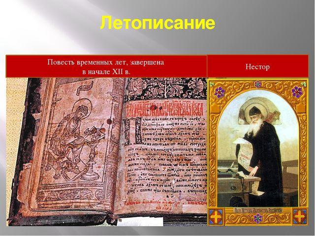 Летописание Нестор Повесть временных лет, завершена в начале XII в.
