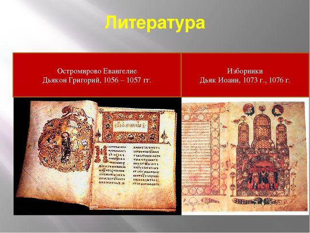 Литература Остромирово Евангелие Дьякон Григорий, 1056 – 1057 гг. Изборники Д...