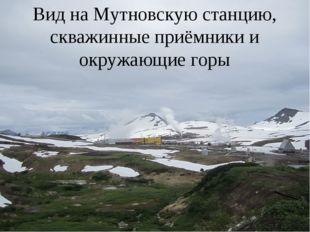 Вид на Мутновскую станцию, скважинные приёмники и окружающие горы