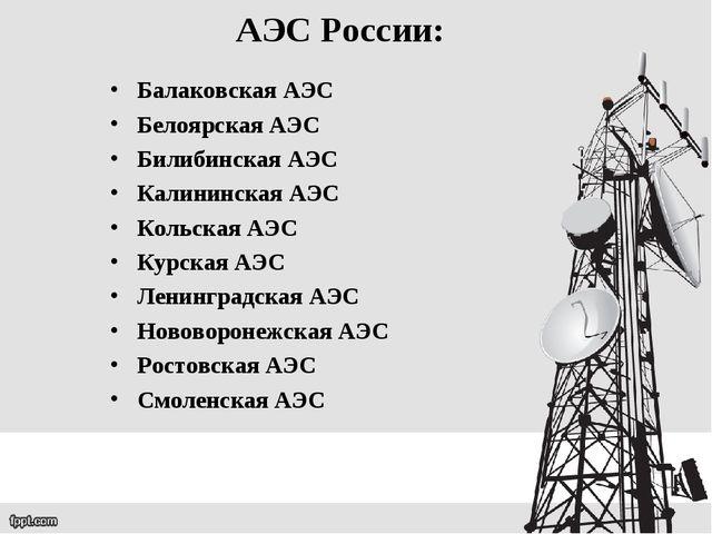 АЭС России: Балаковская АЭС Белоярская АЭС Билибинская АЭС Калининская АЭС Ко...