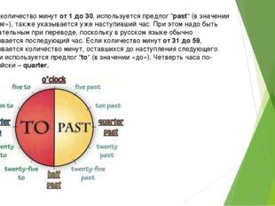 """Если количество минут от 1 до 30, используется предлог """"past"""" (в значении «по"""