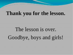 Thank you for the lesson. The lesson is over. Goodbye, boys and girls!