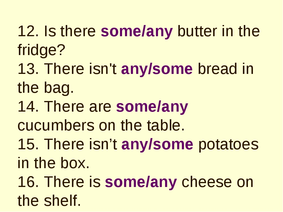 12. Is there some/any butter in the fridge? 13. There isn't any/some bread in...
