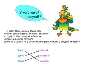 У ребят Вити, Димы и Саши есть попугаи разного цвета: жёлтого , зелёного и г