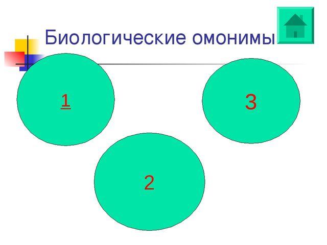Биологические омонимы 1 2 3