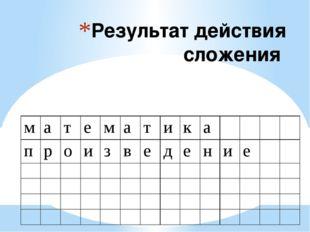 Результат действия сложения м а т е м а т и к а п р о и з в е д е н и е