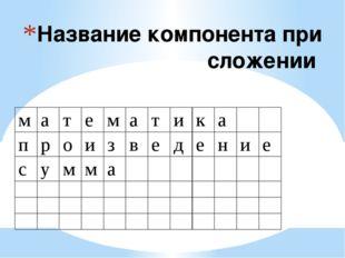 Название компонента при сложении м а т е м а т и к а п р о и з в е д е н и е