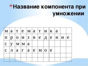 Название компонента при умножении м а т е м а т и к а п р о и з в е д е н и е