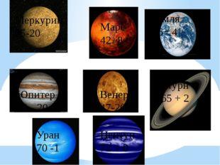 Меркурий 25-20 Марс 42+8 Земля 36+ 4 Юпитер 80 - 20 Венера 47-20 Сатурн 65 +