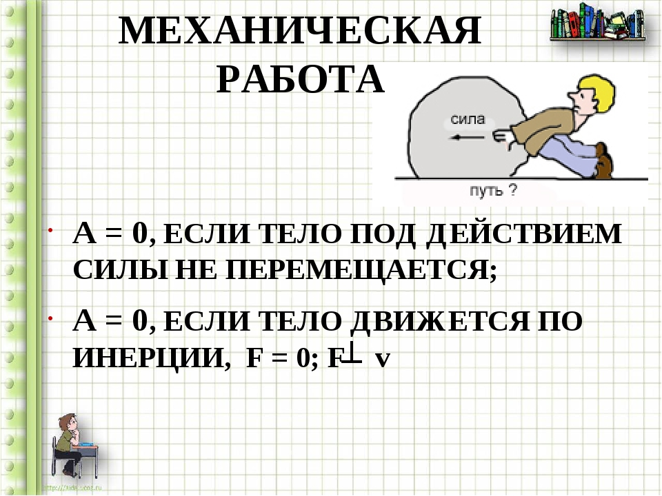 МЕХАНИЧЕСКАЯ РАБОТА A = 0, ЕСЛИ ТЕЛО ПОД ДЕЙСТВИЕМ СИЛЫ НЕ ПЕРЕМЕЩАЕТСЯ; A =...