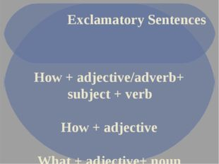 Exclamatory Sentences How + adjective/adverb+ subject + verb How + adjective