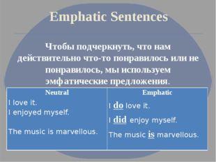 Emphatic Sentences Чтобы подчеркнуть, что нам действительно что-то понравилос