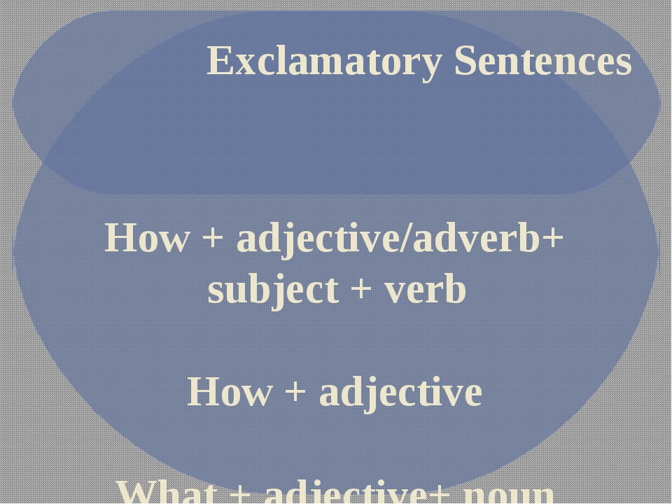 Exclamatory Sentences How + adjective/adverb+ subject + verb How + adjective...