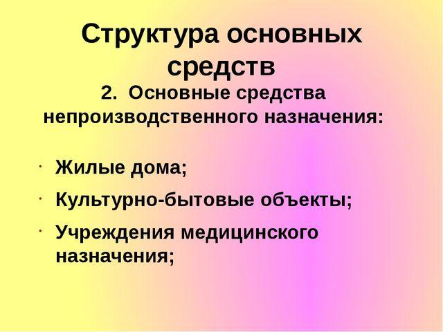 Структура основных средств 2. Основные средства непроизводственного назначени...