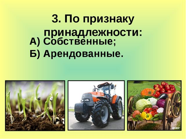 3. По признаку принадлежности: А) Собственные; Б) Арендованные.