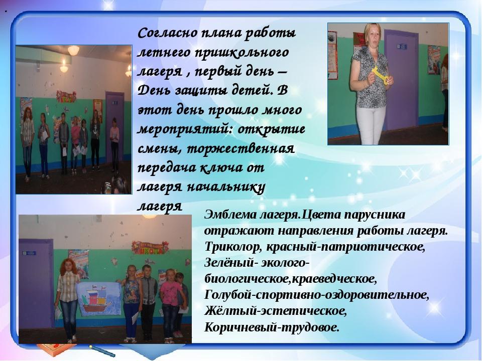 Согласно плана работы летнего пришкольного лагеря , первый день –День защиты...