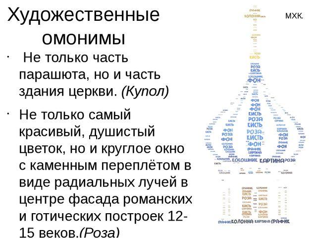 Художественные омонимы Не только часть парашюта, но и часть здания церкви. (...