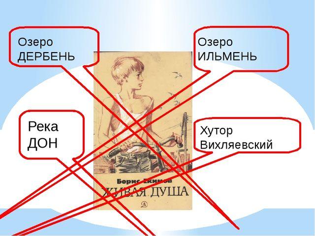 Река ДОН Озеро ИЛЬМЕНЬ Озеро ДЕРБЕНЬ Хутор Вихляевский