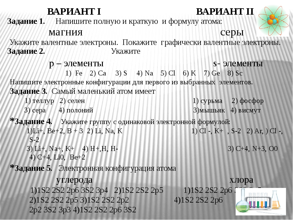 ВАРИАНТ I ВАРИАНТ II Задание 1. Напишите полную и краткую и формулу атома: м...