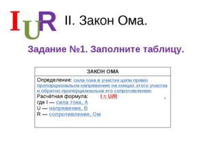 II. Закон Ома. Задание №1. Заполните таблицу. I R U ЗАКОН ОМА Определение: си