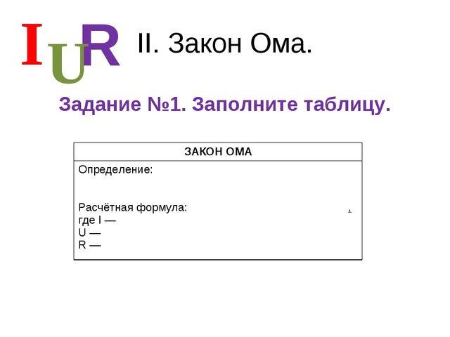 II. Закон Ома. Задание №1. Заполните таблицу. I R U ЗАКОН ОМА Определение:...