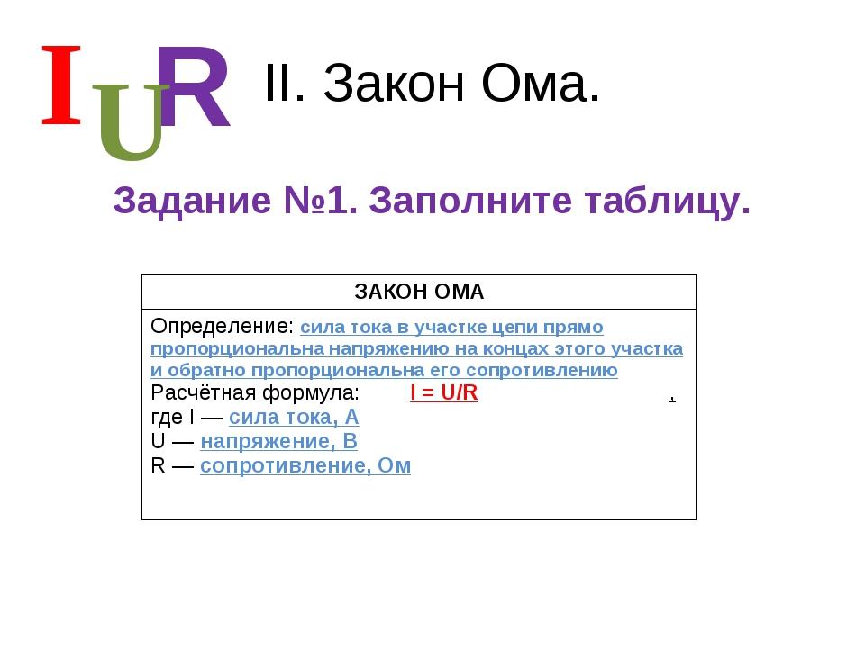 II. Закон Ома. Задание №1. Заполните таблицу. I R U ЗАКОН ОМА Определение: си...