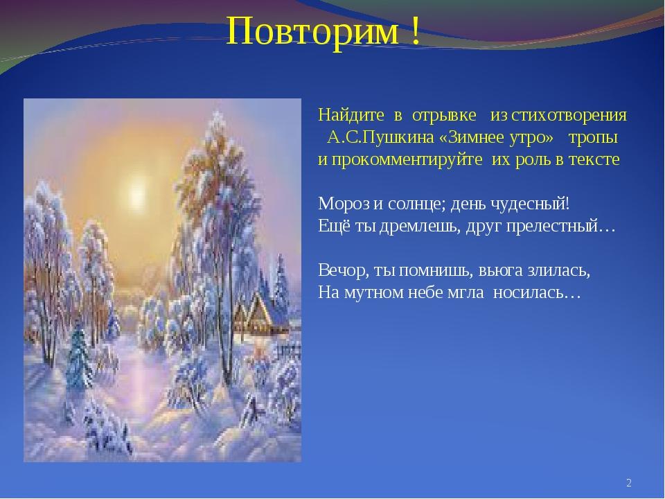 Найдите в отрывке из стихотворения А.С.Пушкина «Зимнее утро» тропы и прокомме...