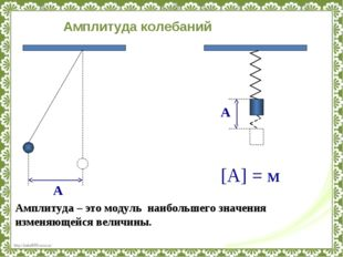 А Амплитуда – это модуль наибольшего значения изменяющейся величины. А [А] =