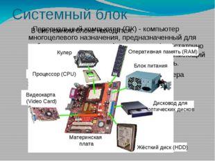 Системный блок Персональный компьютер (ПК) - компьютер многоцелевого назначен