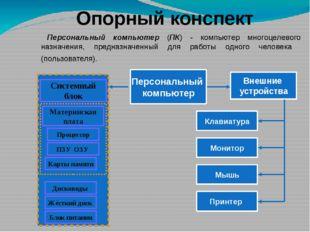 Опорный конспект Персональный компьютер (ПК) - компьютер многоцелевого назнач