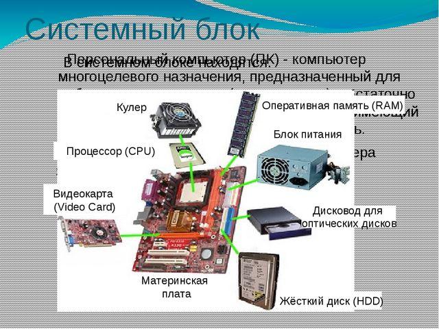 Системный блок Персональный компьютер (ПК) - компьютер многоцелевого назначен...