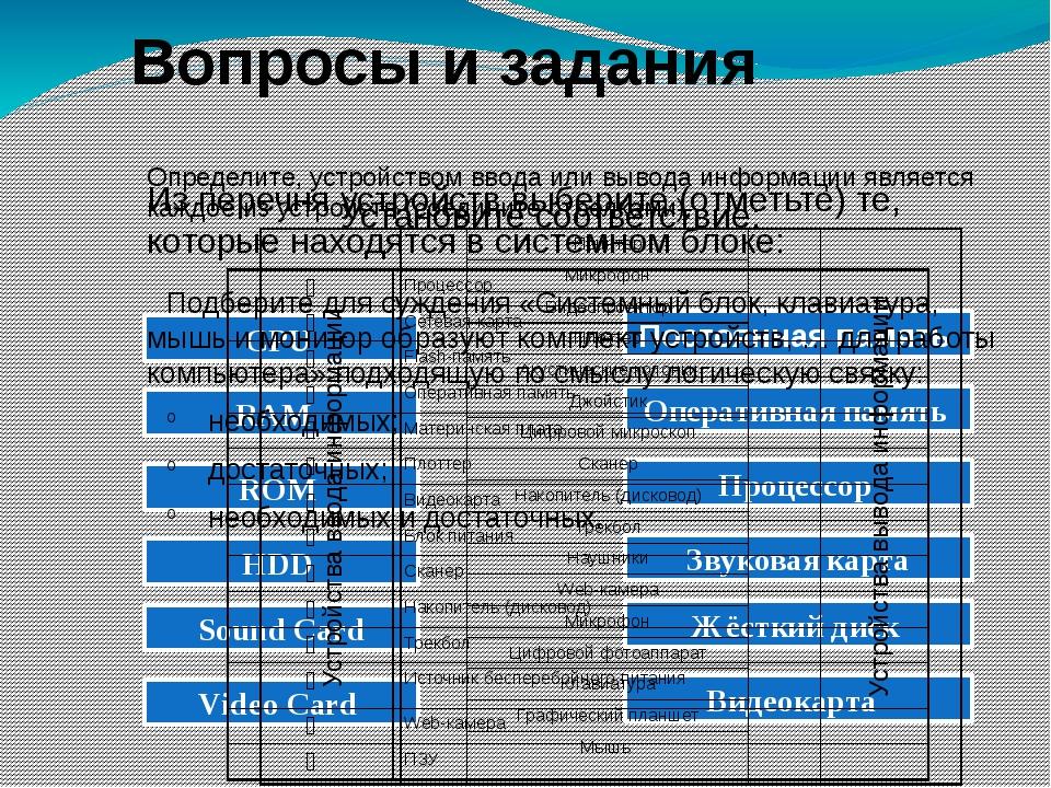 Вопросы и задания Установите соответствие: CPU RAM ROM HDD Sound Card Video C...