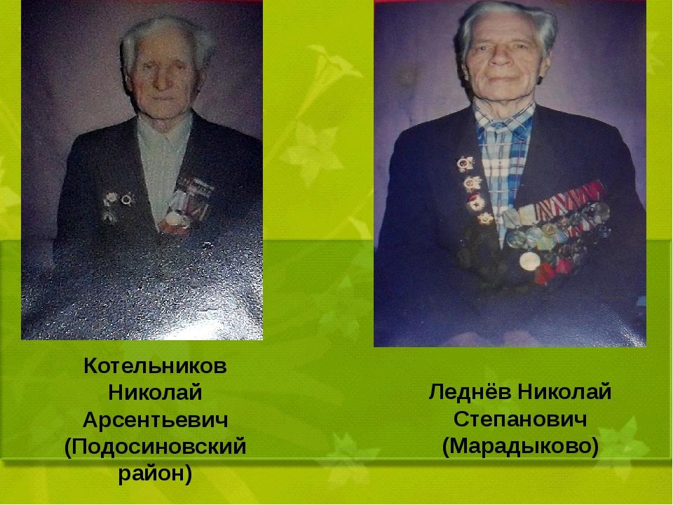 Котельников Николай Арсентьевич (Подосиновский район) Леднёв Николай Степано...