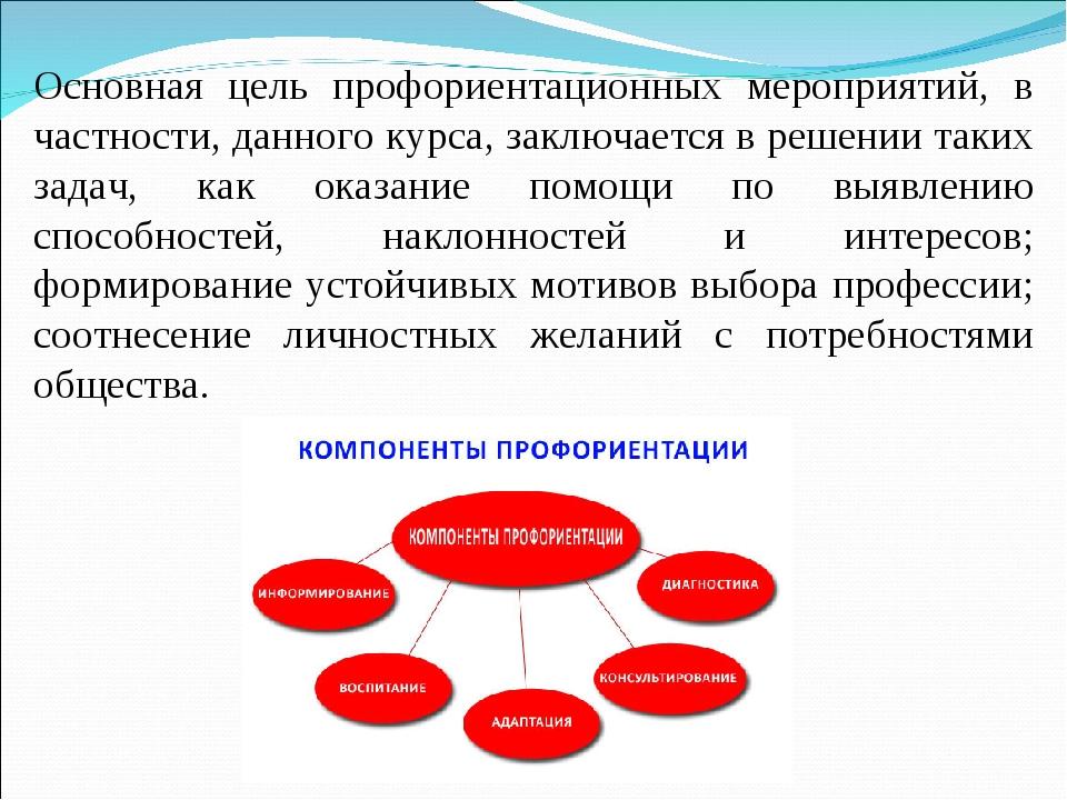 Основная цель профориентационных мероприятий, в частности, данного курса, зак...