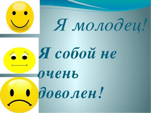 Я молодец! Я собой не очень доволен! Я собой не доволен!!