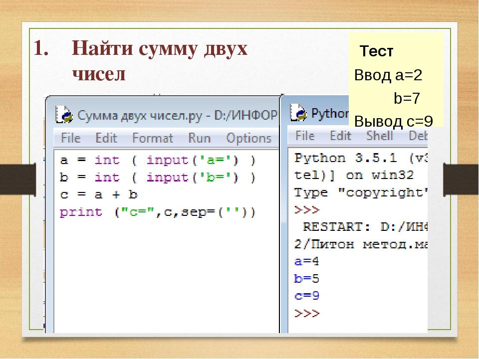 Найти сумму двух чисел a = int ( input() ) b = int ( input() ) c = a + b prin...