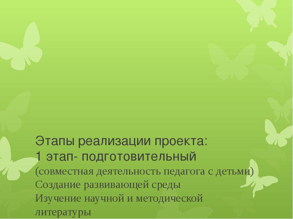 Этапы реализации проекта: 1 этап- подготовительный (совместная деятельность...