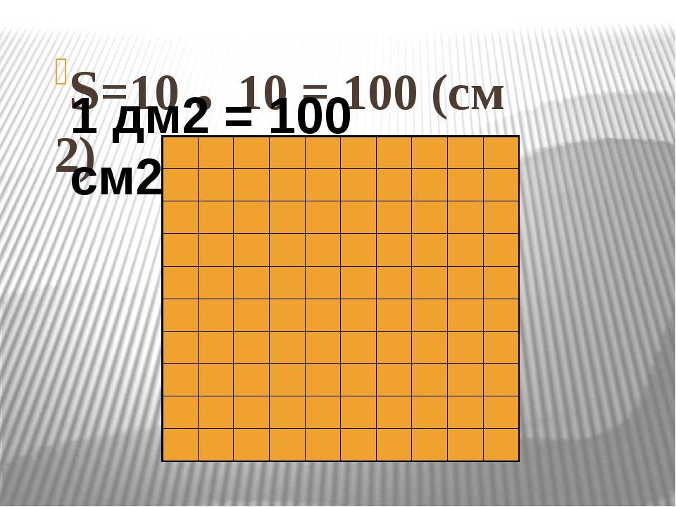 S=10 . 10 = 100 (см 2) 1 дм2 = 100 см2