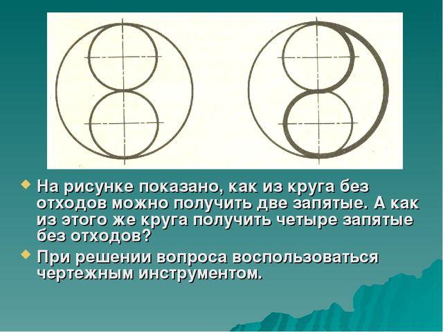 На рисунке показано, как из круга без отходов можно получить две запятые. А к...